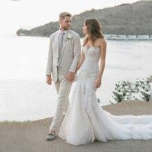 Ivory Linen Men Beach Wedding Suits Groom Tuxedo Groomsmen Blazers Jacket Slim Fit Terno Masculino 2 Piece Coat Pants