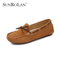 SUNROLAN Winter Women Suede Loafers Slip On Ladies Moccasins Comfortatble Warm Plush Flat Driving Loafers Boat