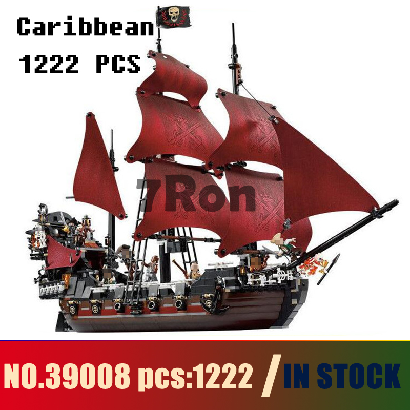 Models building toy 39008 1222pcs Queen Anne\'s Revenge Pirates Of Caribbean Building Blocks Compatible with lego 4195 & hobbies lepin 16009 caribbean blackbeard queen anne s revenge mini bricks set sale pirates of the building blocks toys for kids gift