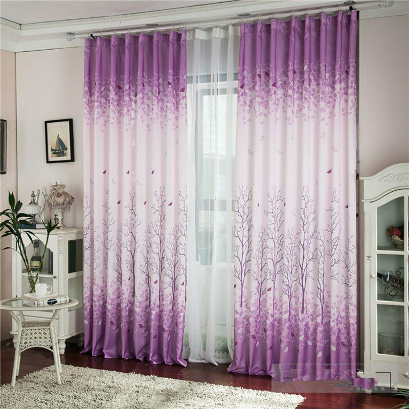 eco friendly curtain window purple print fancy tree curtain printed curtainchina - Decorative Curtains