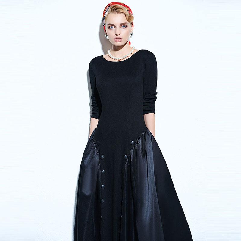 Clocolor Vintage Women Dresses 2017 Spring Black A-Line Party Backless Pullover Dresses Long Sleeve Knee-Length Vintage Dresses 4