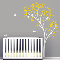 Spring Tree Wall Decal Delicate Tree Vinyl Wall Stickers Birds Wallpaper Baby Nursery Bedroom Wall Decor