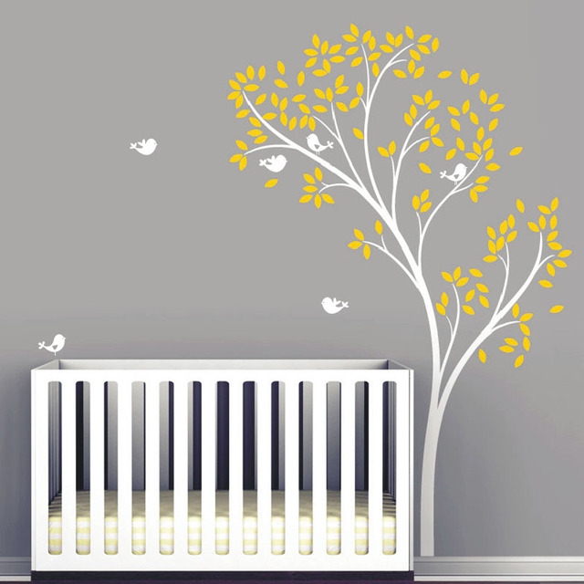 Spring Tree Wall Decal   Delicate Tree Vinyl Wall Stickers   Birds  Wallpaper   Baby Nursery