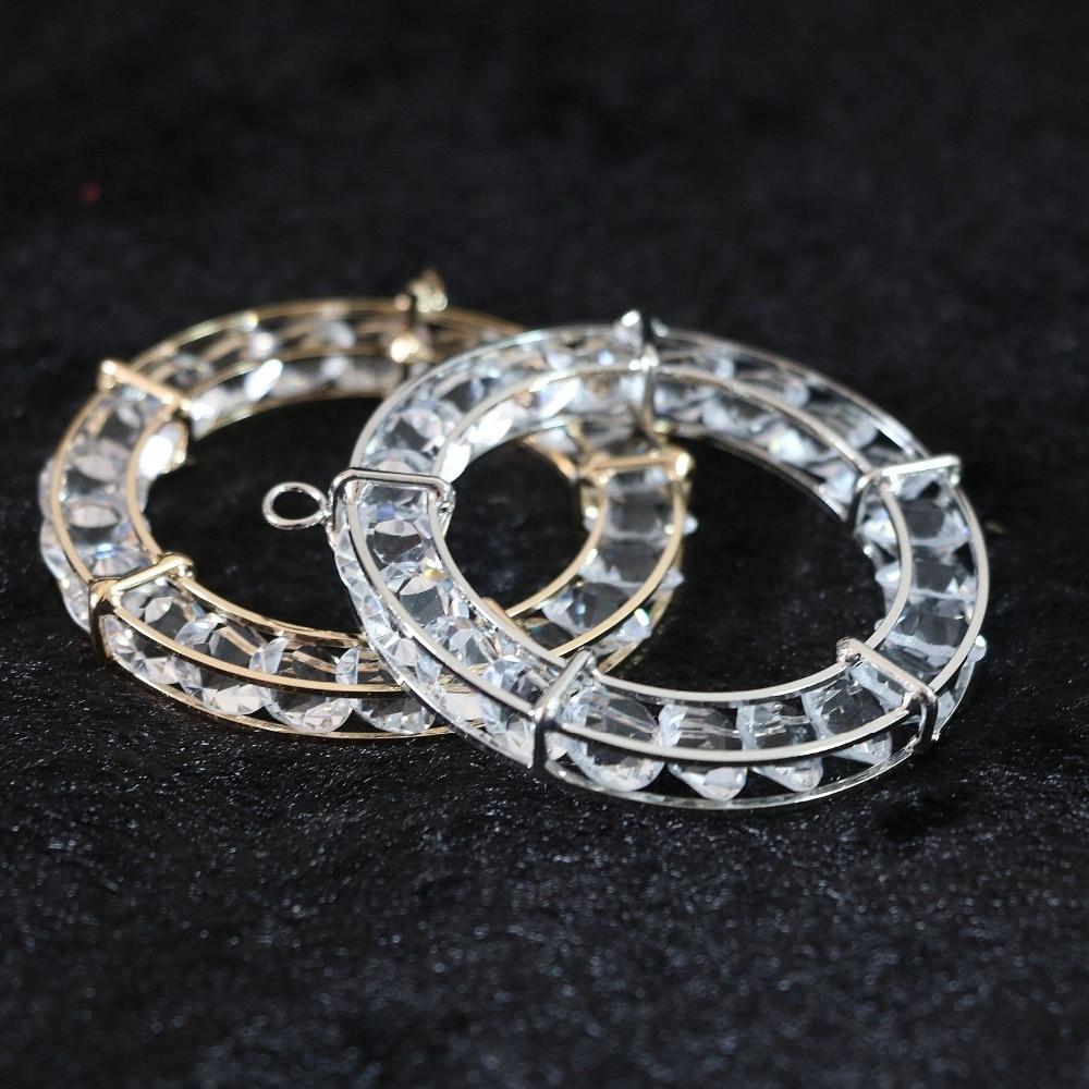 0d6b2c350084 Moda rhinestone cuentas colgantes cristalinos plata-color Círculo del arco  jaula 30mm 50mm DIY joyería 2 PCS B890