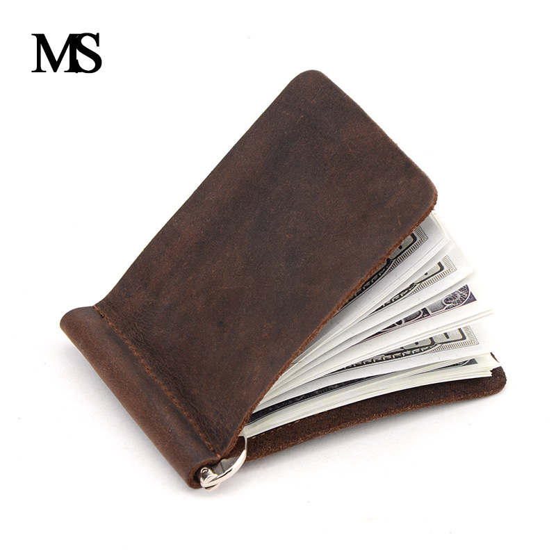 New Arrival Crazy Horse Leather Money Clips Genuine Leather 2 Folded Open Clamp For Money With Coin Pocket TW2306-1