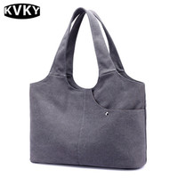 KVKY Simple Solid Canvas Shoulder Bag Trendy High Quality Women S Durable Travel Shopping Bag Large