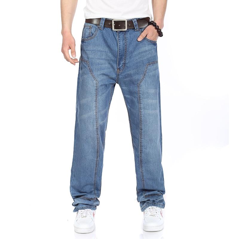ФОТО Plus Size Mens Fashion Patch Jeans 4 Seasons High Waist Straight Jeans Men Dark/Light Blue Big Size 38 40 42 44 46