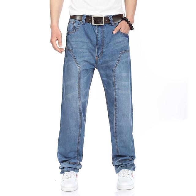 Plus Size Mens Fashion Patch Jeans 4 Seasons High Waist Straight Jeans Men Dark/Light Blue Big Size 38 40 42 44 46