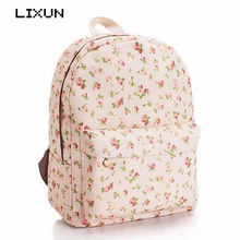 Summer Fresh Women Casual Daypack Printing Flower Canvas Backpack School Bags For Teenagers Girls Ladies Floral Rucksack Mochila