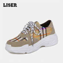 platform sneakers for women trainers tartan pattern super soft thick bottom laced up breathable canvas suede mixed casual shoes