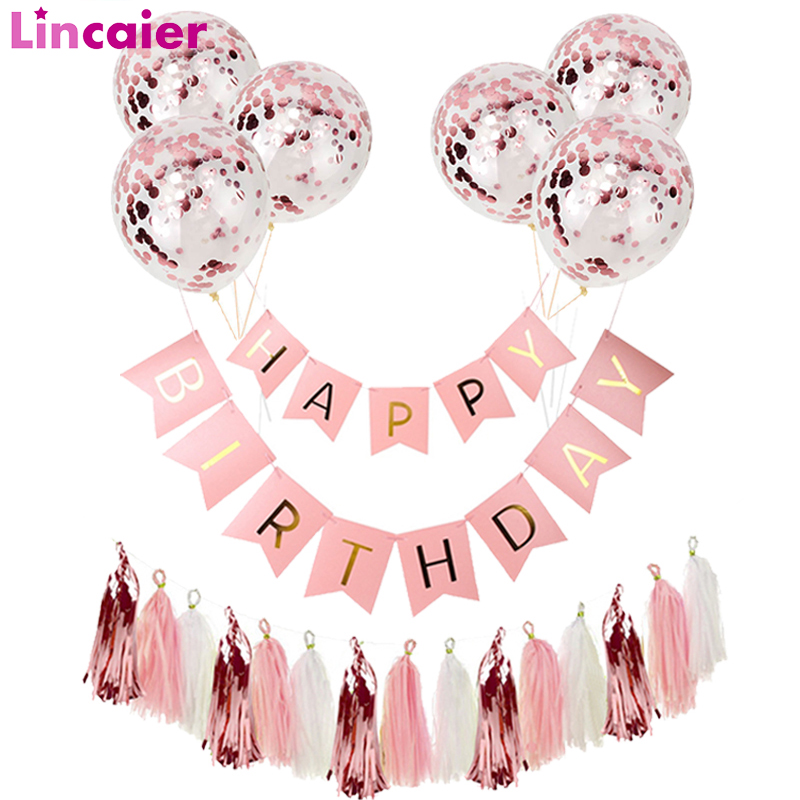 Rose Gold Confetti Balloons 1st Happy Birthday Banner Decorations First Birthday Baby Boy Girl Party My One Year Birthday Decor