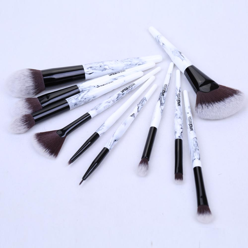 10pcs  Makeup Brushes With Marble Color Handle With Pink PU Case10pcs  Makeup Brushes With Marble Color Handle With Pink PU Case