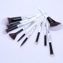 Yaqi 10pcs  Synthetic Hair Marble Color Resin Handle Pink PU Case Makeup Brush Set