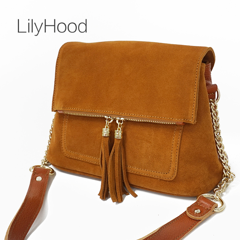 LilyHood Women Genuine Leather Fringe Shoulder Bags Fashion Cow Suede Tassel Brown Chain Multi Pockets Crossbody Bucket Bags