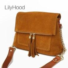 LilyHood kadınlar hakiki deri saçak omuz çantaları moda inek süet püskül kahverengi zincir çok cepler Crossbody kova çanta