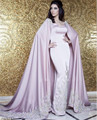 Abendkleider Dubai Arabic Evening Party Dress With Cape Appliques Sequined Mother of the Bride Dresses For Weddings Women Groom