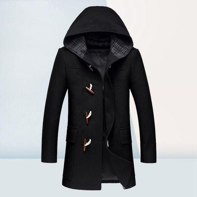 Casaco de Lã de inverno Homens Jaqueta Dos Homens De Alta Qualidade Com Capuz Botão da Buzina casaco de Lã Designer De Moda Mens Peacoat Tamanho M-3XL