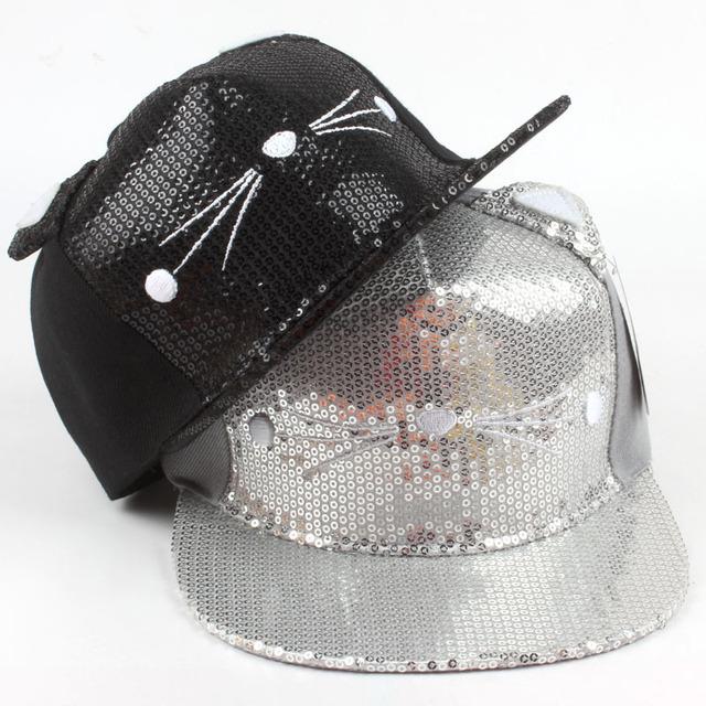 O novo macho e fêmea gatos lantejoulas boné de beisebol Plana ao longo do chapéu hop chapéu de sol Ao Ar Livre