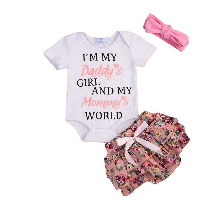 New Sweet Infant Baby Girls Short Sleeve Print Letter Floral Romper Pants Shorts Headband Outfits Clothes Set