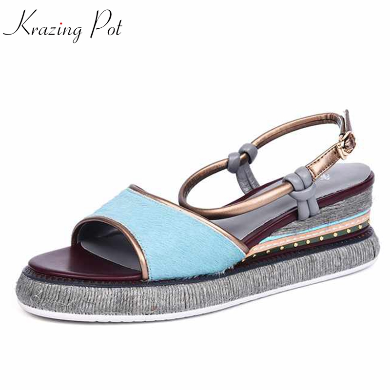 krazing pot summer horsehair buckle strap peep toe women sandals runway wedges high heels casual blue color increased shoes L18 universal cell phone holder mount bracket adapter clip for camera tripod telescope adapter model c