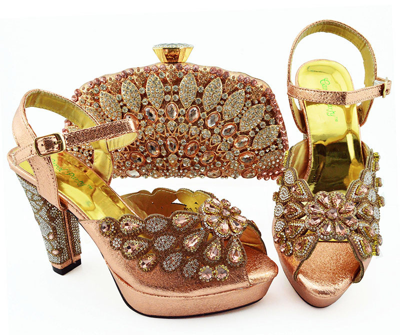 Peach italian shoes and bag matching set fashion sandal shoes and clutches bag set for african aso ebi party SB8363-1