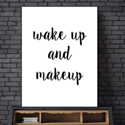Wake Up and Make Up Quotes Canvas Art Pop Art by Numbers Picture Posters Wall Art Oil Paintings for Living Room Wall No Frame