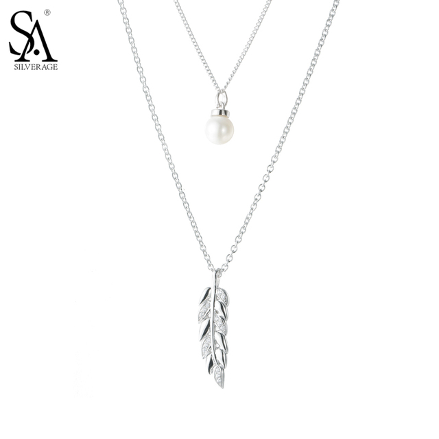 SA SILVERAGE 925 Sterling Silver Long Necklaces Pendants for Women Fine Jewelry Two Layer Sweater Chain 2017 New Design