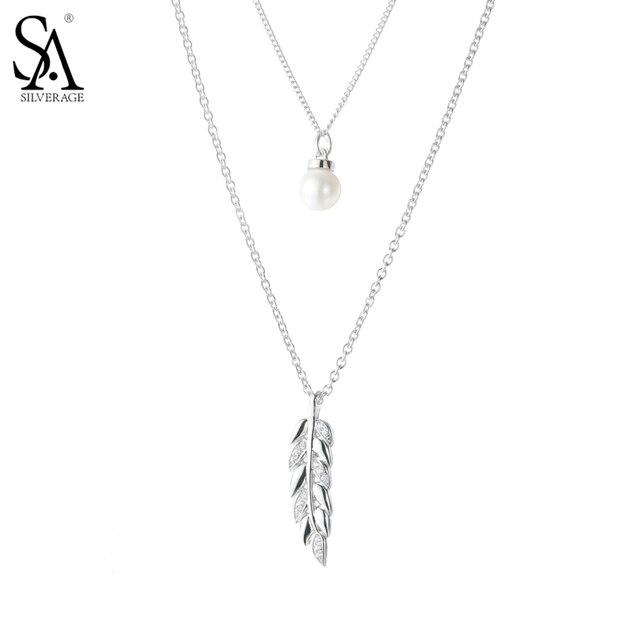 SA SILVERAGE 925 Серебро Длинные Ожерелья Подвески для Женщин Изысканные Ювелирные Изделия Перлы Два Слоя Свитер Цепи 2017 Новый Дизайн