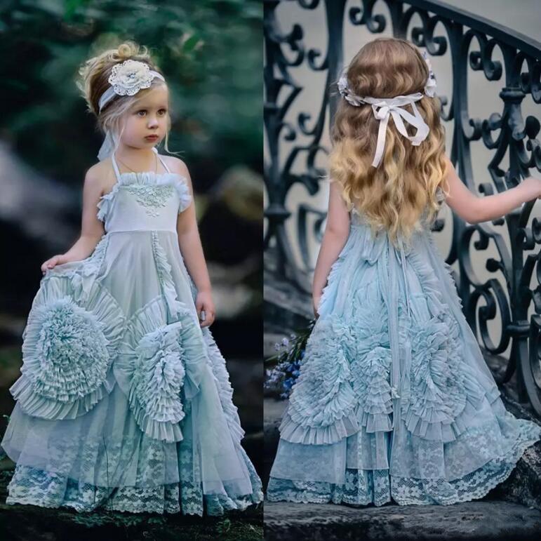Vintage Princess Flower Girls Dresses Ruffles Lace Halter Kids Formal Wear Floor Length Girl's Pageant Dress with Headband vintage halter cherry print dress