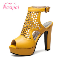 Nasipal Women Shoes Thick High Heels Peep Toe Gladiator Pumps Cut Outs Waterproof Ankle Strap Slingbacks Pumps Shoes Woman C317