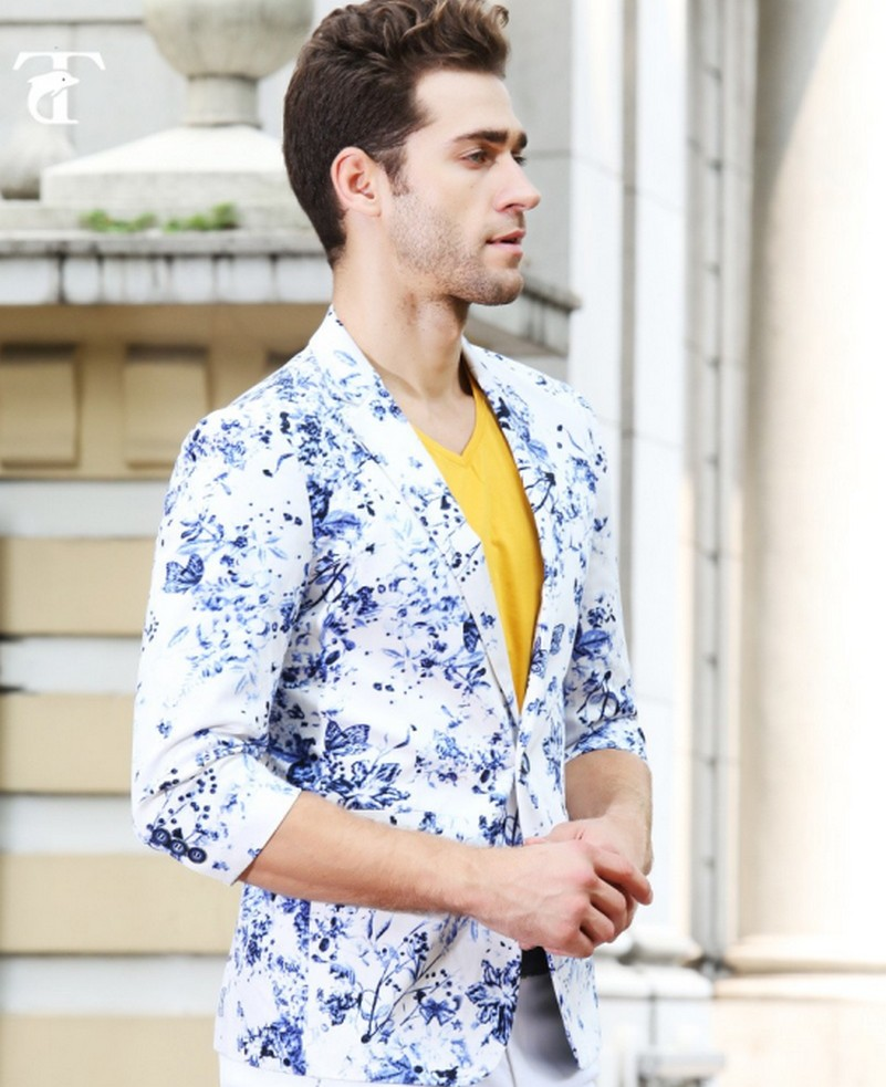 2017 Design Mens Brand Blazer Jacket Slim Fit Stylish printing 100% - Pakaian lelaki - Foto 2