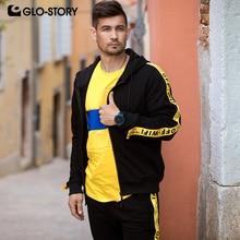 GLO STORY 2019 primavera masculina fita preta hoodies zíper voar hip hop streetwear sweatshirts calças e674