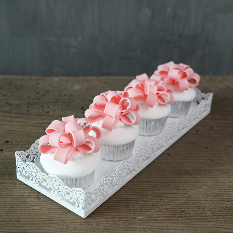 rectangle tray for cupcake metal white wedding cake tools for display