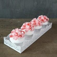 Rechteck tablett für cupcake metall weiß hochzeitstorte werkzeuge für display dekoration platte party event dekoration backen ware