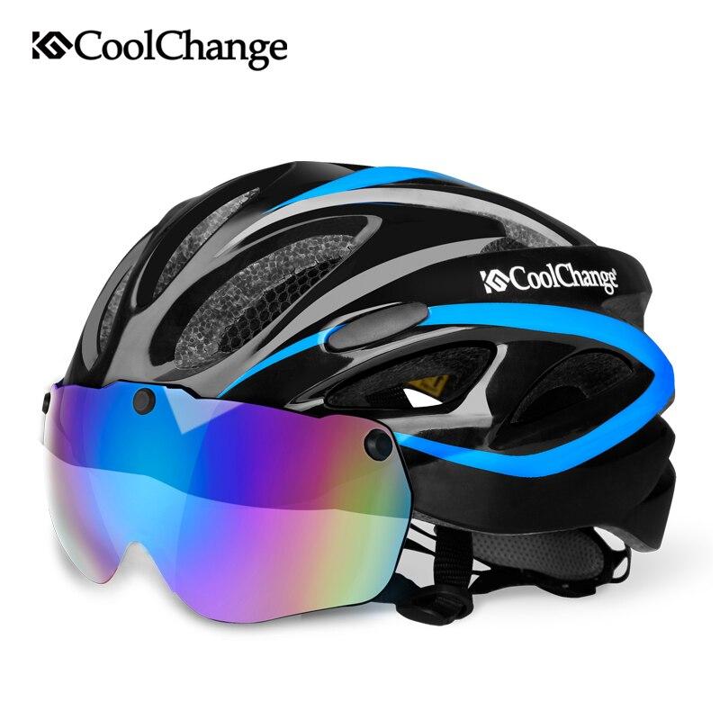 CoolChange Radfahren Helm Integral geformten Ultraleicht MTB Fahrrad Helm Mit Brille Insect Net Fahrrad Casco Ciclismo 57-62 cm