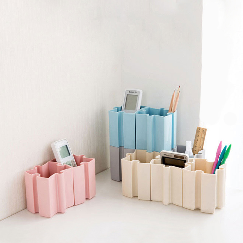 Interesting DIY Stitching Storage Box Plastic Cosmetic Pen Jewelry Organizer Offices And School Desk Storage Box Case 4 Color