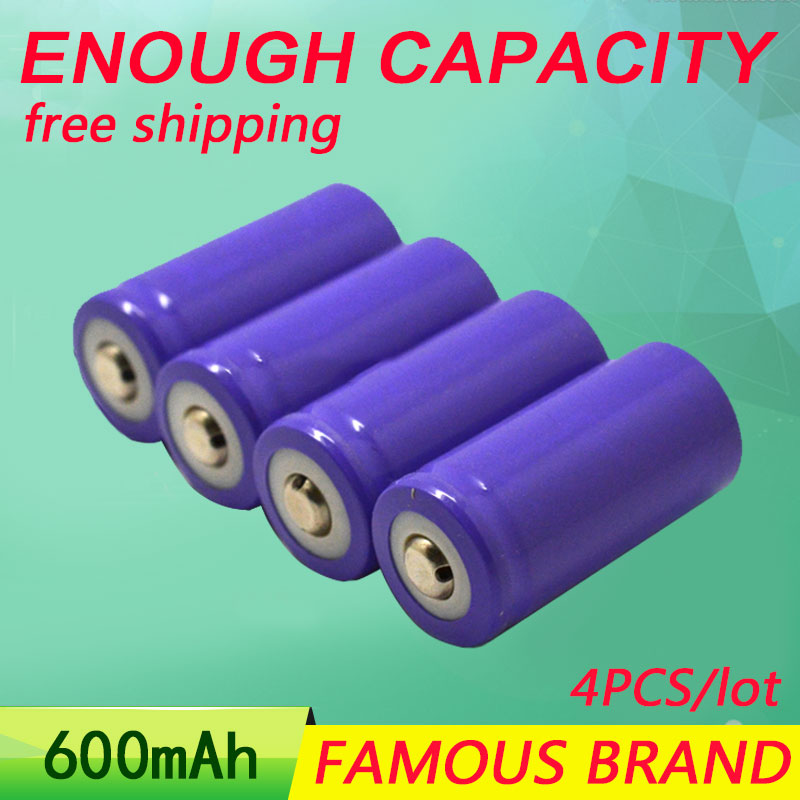 Golooloo li-ion 16340 4PCS/lot rechargeable battery <font><b>3.7V</b></font> <font><b>600mAh</b></font> rechargeable 600 times electric/remote control toys batteries image