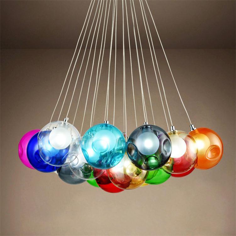 Bunte Glas Ball Lampe G4 Led Pendelleuchten 110 V 220 Kreative Design Leuchten Fr