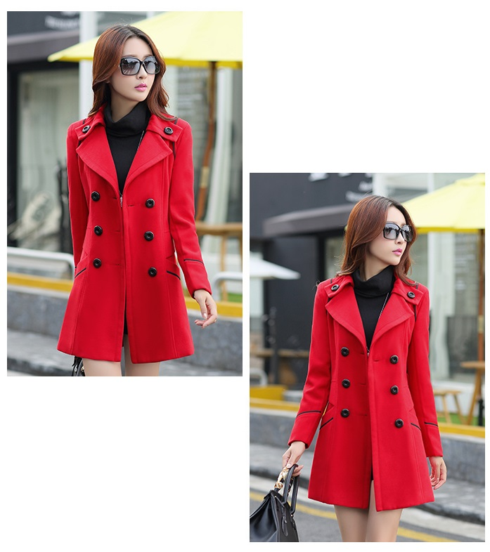 YAGENZ M-3XL Autumn Winter Wool Jacket Women Double Breasted Coats Elegant Overcoat Basic Coat Pockets Woolen Long Coat Top 200 11