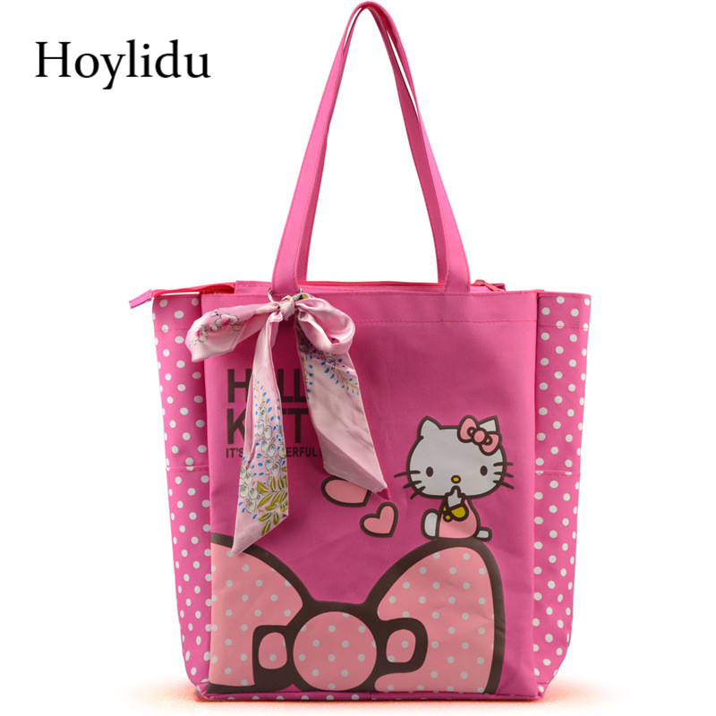 91a3e8a2a6 Oxford Women Handbags Cute Hello Kitty Casual Tote with Bowknot Female  Multi function Shopping Bag Shoulder Lunch Bags For Kids-in Top-Handle Bags  from ...