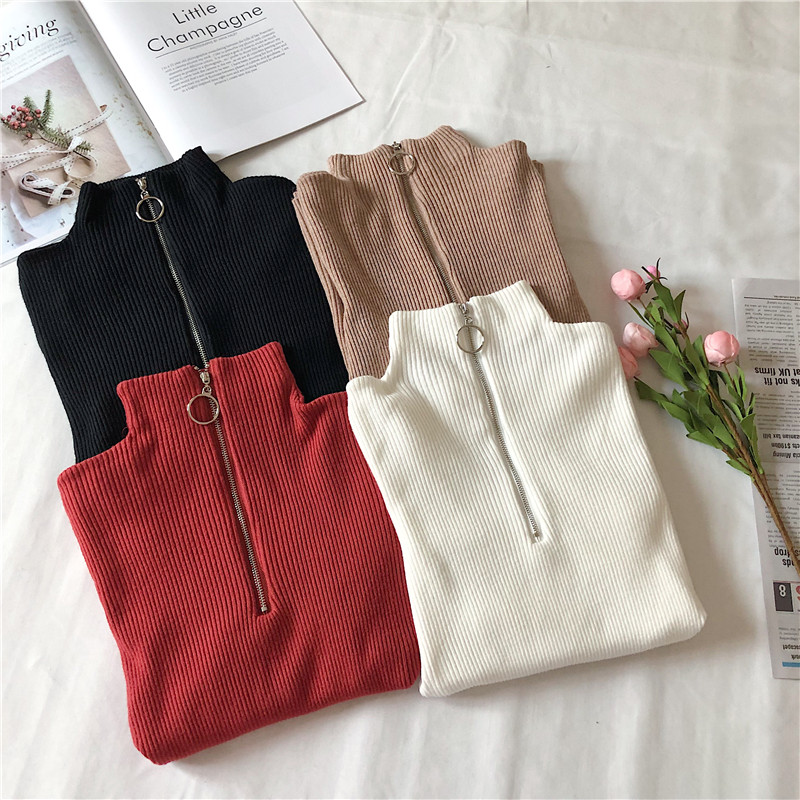 Turtleneck Women Sweater And Pullovers Fall Korean Fashion Autumn Zipper Knitted Sweater Women High Elastic Solid Tops #1