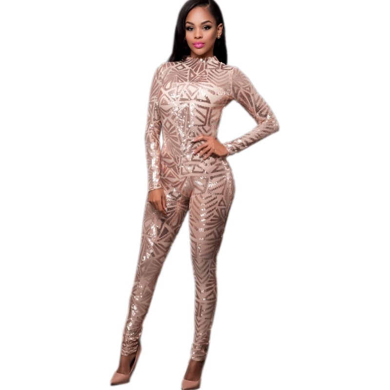Women's Clothing Ysmarket New Design Hot Sale Club Party Rompers Long Bodycon Sexy Jumpsuits Spring Women Sequin See Through Mesh Patchwork Hn272 To Assure Years Of Trouble-Free Service