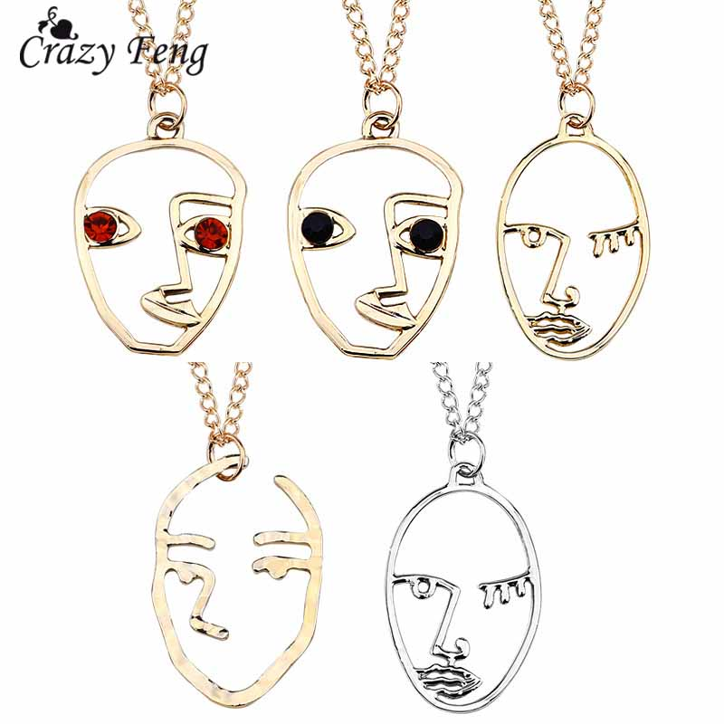 Crazy Feng 2018 Fashion Figure Face Pendant Necklace For Women Men