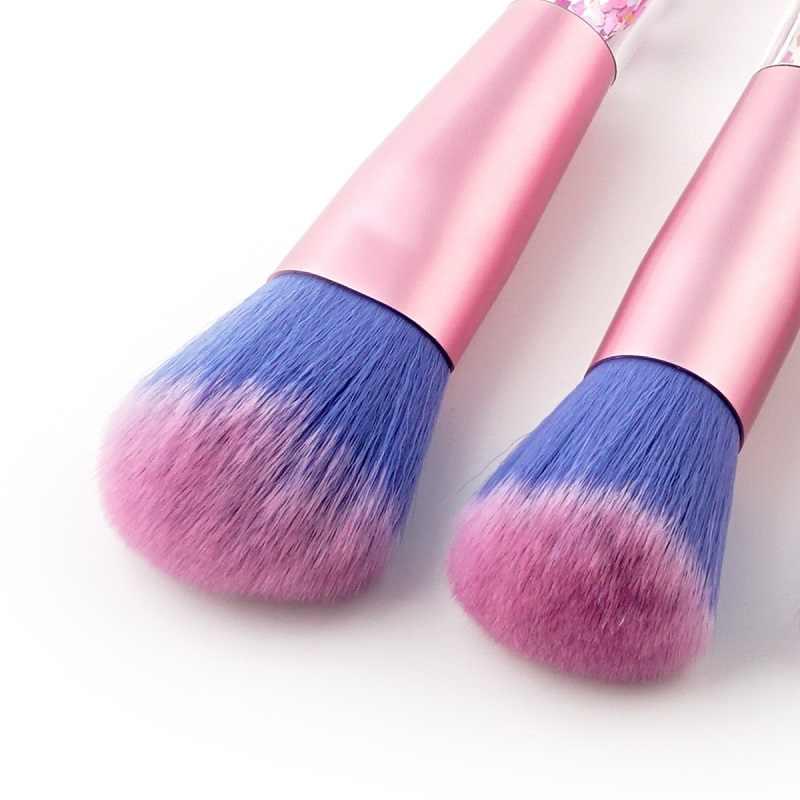 7 pçs strass glitter cristal conjunto de escova de maquiagem diamante pro highlighter escovas corretivo maquiagem escova sereia presente