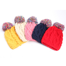 Children Knit Wool Cap Colorful Ball Wollen Cap Children Autumn Winter Hat Bonnet Baby Girl Boy New Fashion Lovely Warm Hat