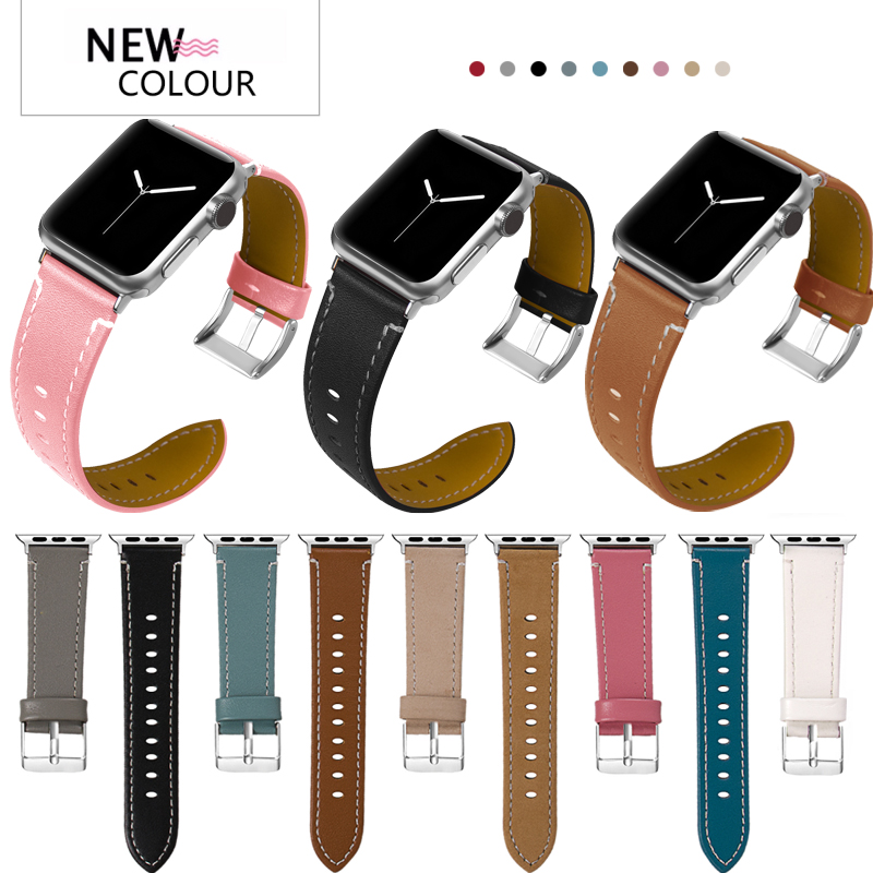 Leather Bands Compatible Apple Watch 38mm Slim Replacement Wristband Sport Strap for Iwatch Nike+ Series 3 2 1 Edition apple watch band 38mm 42mm secbolt metal replacement wristband sport strap for apple watch nike series 3 series 2 series 1