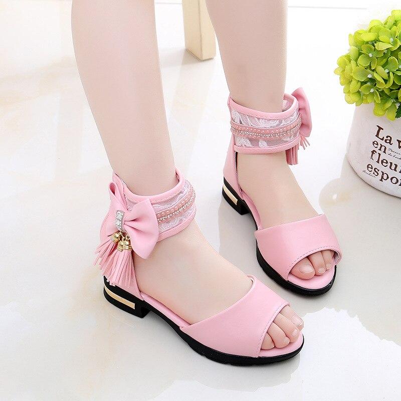2018 Eur Size: 27 28 29 30 31 32 33 34 35 36 37 Childen Shoes Kids Tassel  Girls  Sandals New Summer  Bowtie Sandals Princess