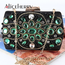 New Arrive Top Grade Gemstone Women Evening Bags Fashion Retro Beaded Clutch Bag Female Wedding Clutches Purses Box