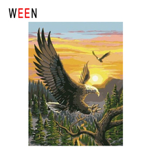 WEEN Sunset Eagle Diy Painting By Numbers Abstract Animal Oil On Canvas Bird Cuadros Decoracion Acrylic Forest Wall Art