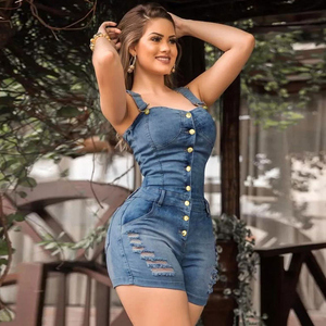 Sexy Suspender JUMPSUIT Spaghetti Strap Women Denim Rompers Shorts Playsuit Ripped Jeans Overalls Boyfriend Play Suit Streetwear(China)